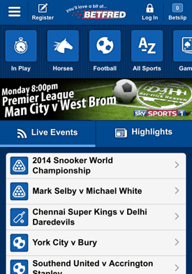 Betfred Mobile Screenshot