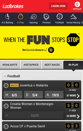 Ladbrokes Mobile Screenshot